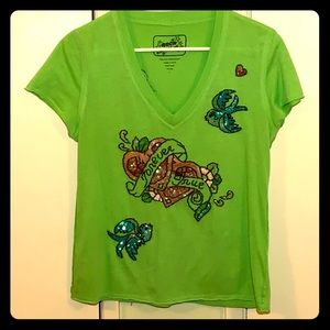 ROCK SOLID LIME GREEN FOREVER TRUE T-SHIRT SIZE L